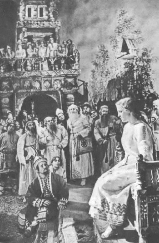 A scene in the palace of King Berendey. The Snow Maiden. Bolshoi Theater, 1954