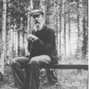 Famous Rimsky-Korsakov in a birch grove in Krapachukha, 1903