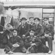 N.A. Rimsky-Korsakov (first right) in the group of midshipmen on the deck of the Almaz clipper. New York