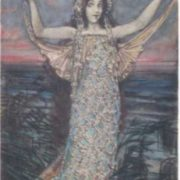 The sea princess. Watercolor by M. A. Vrubel, 1904