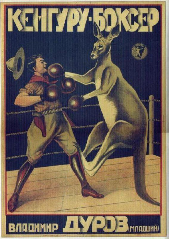Kangaroo-boxer. Performance by Durov