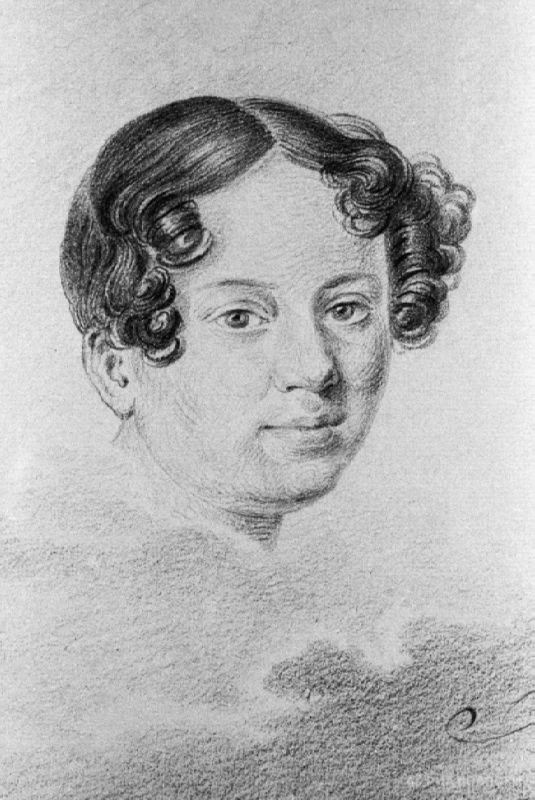 Reproduction of a portrait of Anna Kern by Ivan Geren from the collection of the Museum of the Institute of Russian Literature