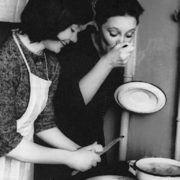 Lyudmila with Irina Gubanova during a break in the filming of War and Peace