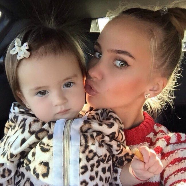 Model Valeria Sokolova and her daughter