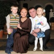 Natalia Bochkareva with her former husband and children