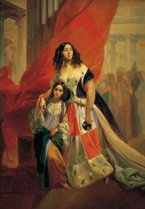 Countess Yulia Samoilova with her adopted daughter Amazilia Paccini, leaving the ball