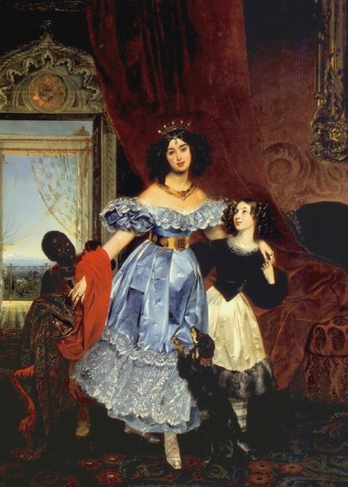 Portrait of Countess Yulia Samoilova with Giovannina Pacini, Arab boy