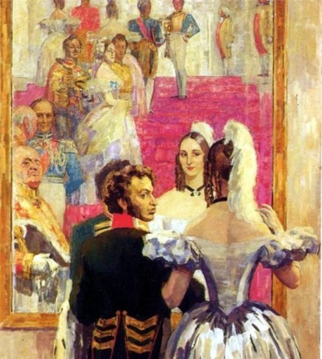 Artist N. Ulyanov. Pushkin and his wife in front of a mirror at a court ball, 1936
