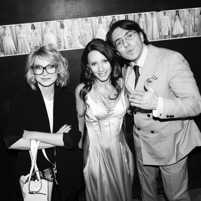 Designer Elena Demina, Andrey Malakhov and Evelina Khromchenko