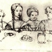 Drawing by N.I. Friesenhof. Alexander Pushkin's children, 1839