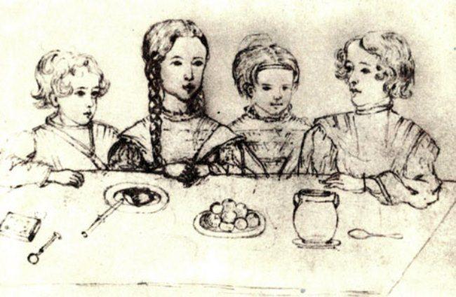 Drawing by N.I. Friesenhof. Alexander Pushkin's children, 1839