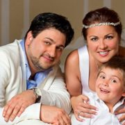 Happy family. Anna Netrebko with her husband and son