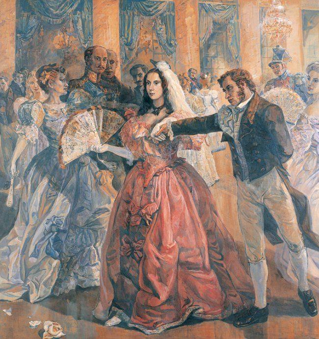 Svyatoslav Gulyaev. Pushkin and Goncharova at a ball