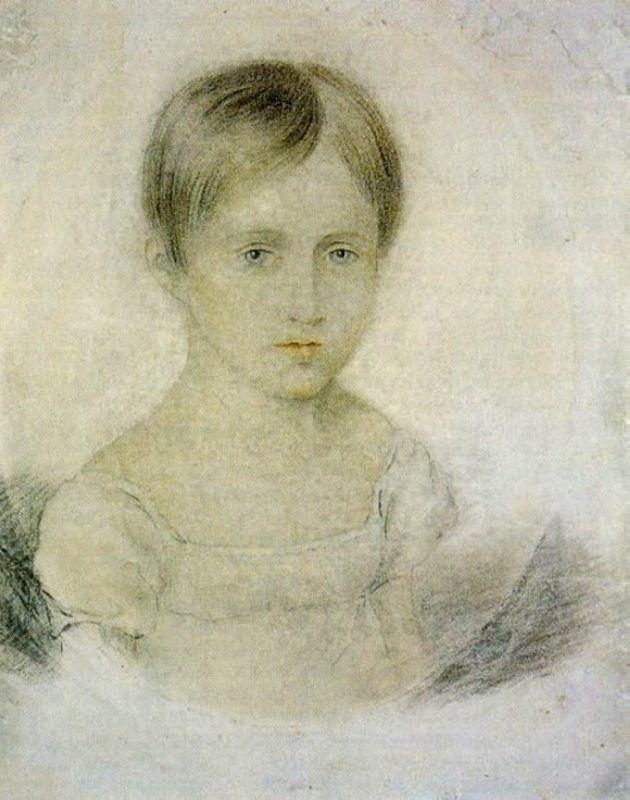 Unknown artist. Natalia Nikolaevna Goncharova in the childhood. Early 1820s