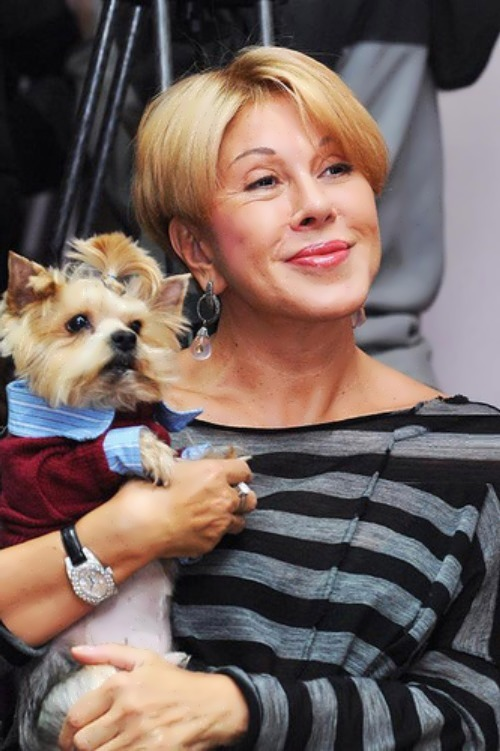 Uspenskaya and her favourite dog Franky