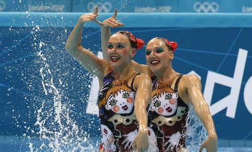 Ishchenko and Romashina, Russian swimmers