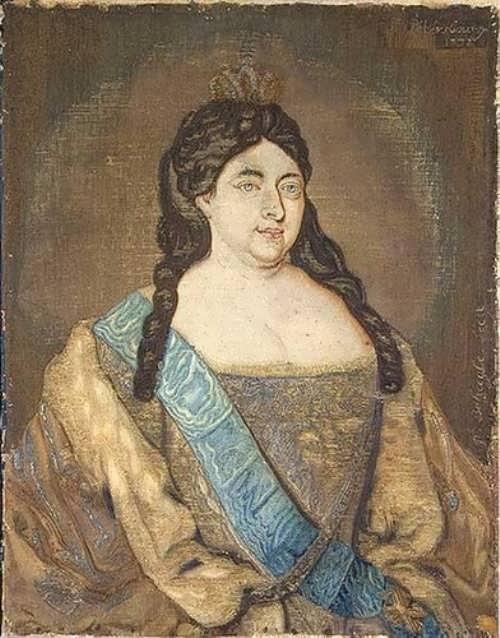 Portrait of Empress Anna on silk