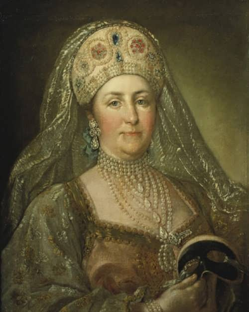 Catherine II dressed in the Russian national costume