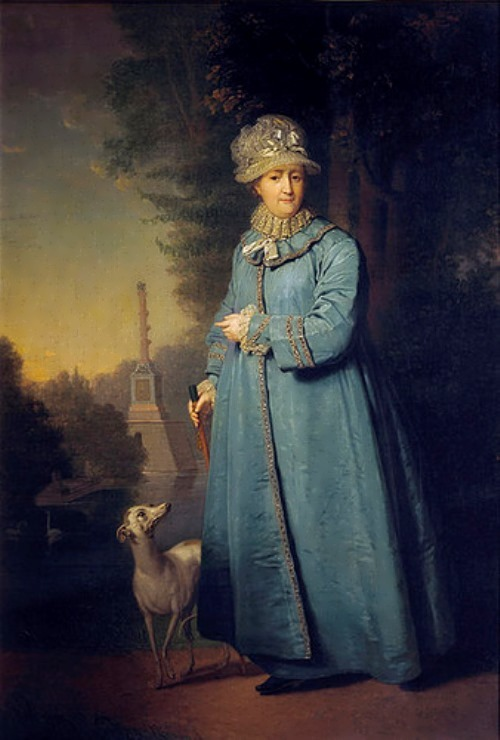 Portrait of Catherine in an advanced age, with the Chesme Column in the background