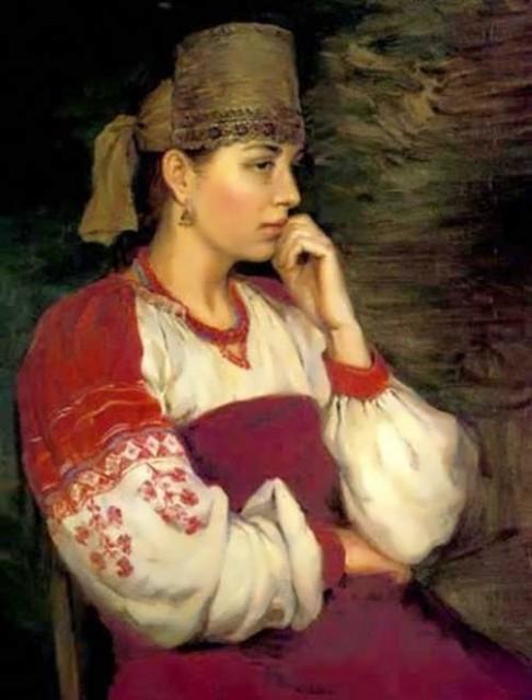 Slepushkin Dmitry. Girl in Russian Costume