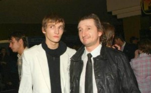 Male fashion model Matvey Lykov and his father
