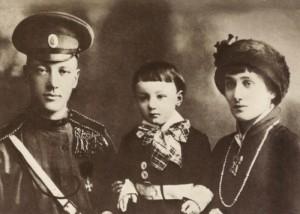 Anna Akhmatova with her husband Nikolay Gumilev and son, Lev Gumilev, 1913