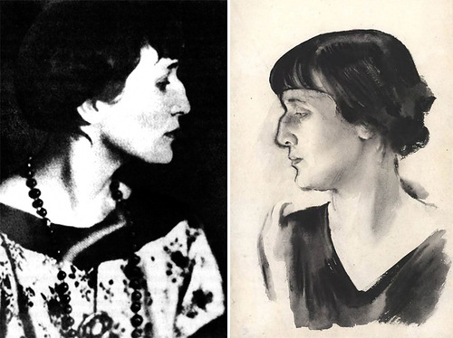 Portrait by N.A. Tyrs, 1928 (right)