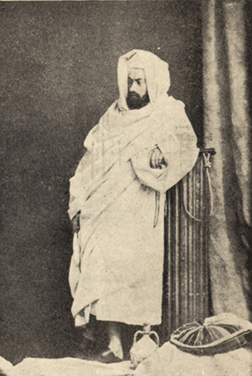 While traveling on the Red Sea in the Arab burnoose. 1869