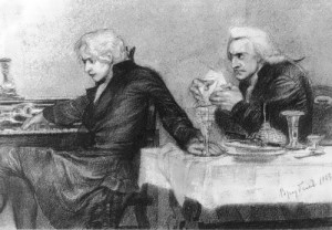 Salieri pours poison into a Mozart's glass, Pencil by M. Vrubel