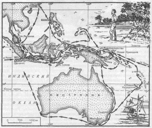 Map of Maclay's travelling