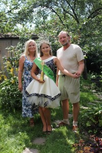 Nastya Sivova and her grandparents