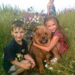Nastya Sivova, her brother and their dog