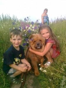 Nastya Sivova, her brother and their dog