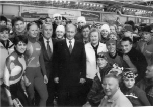 Skoblikova with Vladimir Putin and Nursultan Nazarbayev