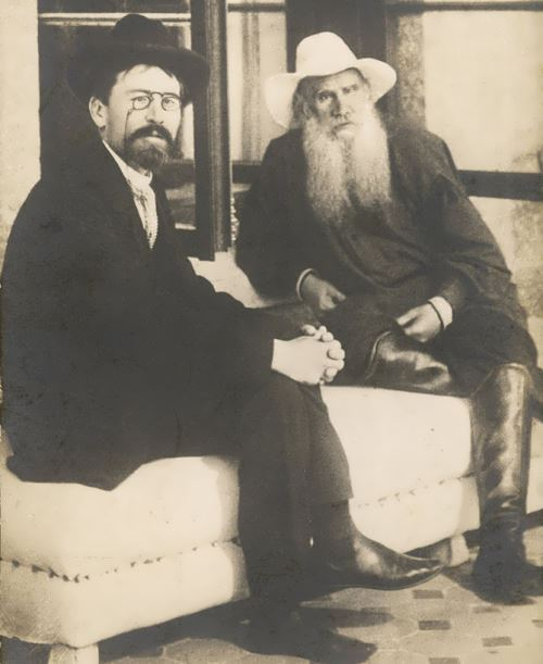 Anton Chekhov, Russian writer, with Tolstoy