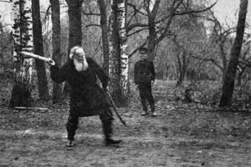 Tolstoy is playing Russian folk game Gorodki