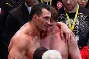 Klitschko and Povetkin after the fight