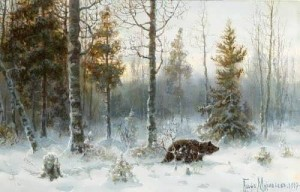 Winter landscape. Bear in the forest. 1907