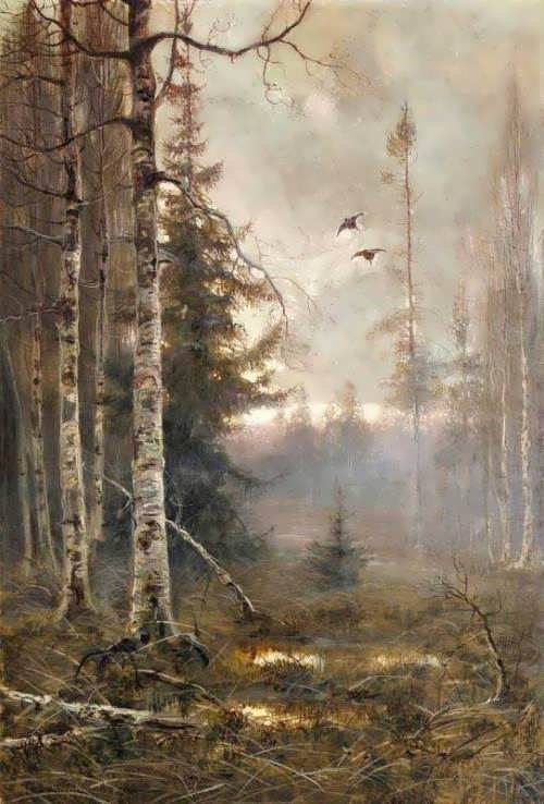 Forest at sunrise with flying ducks