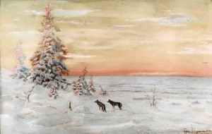 Awesome Winter landscape with wolves