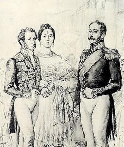 Emperor Nicholas I and Pushkin. E. Ustinov
