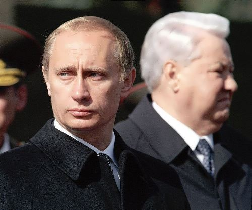 Putin and Yeltsin. Moscow, 2000
