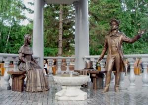 Interesting monument to Pushkin and Goncharova