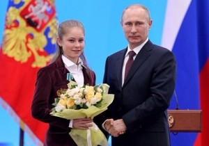 Lipnitskaya and Vladimir Putin