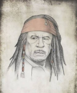 Moammar Gadhafi as Captain Jack Sparrow