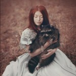 Girl and raccoon – fluffy cuties plotnikova