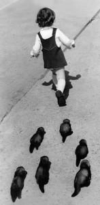 Girl and ferrets Vasily Peskov