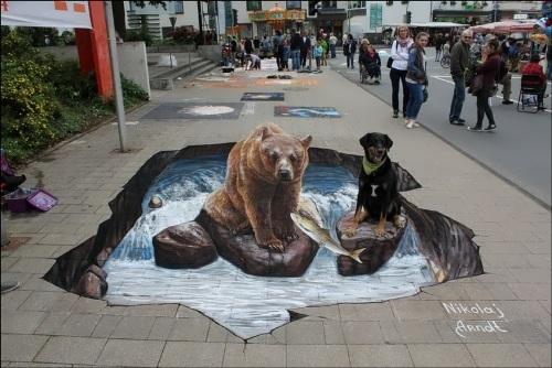 Three-dimensional street art by Nikolaj Arndt