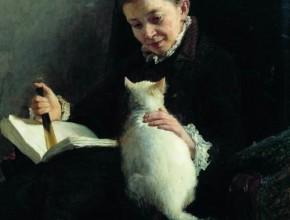 Portrait of a lady with a cat Nikolai Yaroshenko
