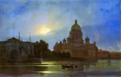 View of St. Isaac's Cathedral in the moonlight Arkhip Kuinji